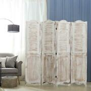 Decorative Antique Farmhouse Whitewashed Wood Home Room Divider Screen W/ Hinges