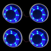 8pcs 8led's Blue Stainless Steel Cup Drink Holder Marine Boat Car Truck Suv Part