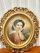 Early Vintage Syroco Styler Gold Wood Round Oval Picture Frame Hollywood Regency