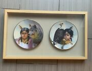 Pride Of American Indians Collector Plates By Perillo In Wood Display