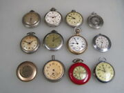 12 Vintage Manual Wind Pocket Watches For Parts Or Repair B4637