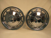 Vintage Pair Of Mercedes Benz Chrome Hubcaps 15 1/4 Inch Wide