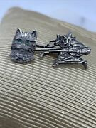 Very Rare Antique Daniel Low Salem Witch And Cat Face Emerald Eyes Cufflink