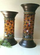 🍁 Partylite Glass Mosaic Tile Global Fusion Candleholder Pillars - 11 And 9 Set
