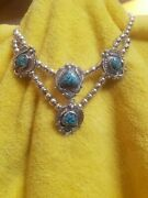 1970and039s Navajo Turquoise Sterling Silver Necklace Famous Creator David K Lister