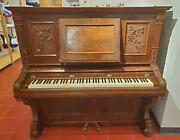 Henry Miller Ornate Upright Piano Lion Claw Legs Made In Boston Usa 1896 Walnut