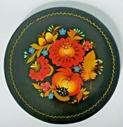 Vintage Russian 11 Hand Painted Flower Lacquer Wall Art Plate In Box U24/72