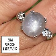 14k White Gold 5.3 Ct Lavender Gray Star Sapphire And Diamond Ring Video