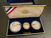 1991-1995 World War Ii 50th Anniversary 3 Coin Gold Proof Set - Us Coins Mint