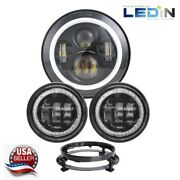 7 Led Halo Projector Headlight + Passing Lights For Harley Touring Drl Signal