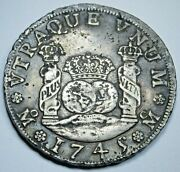 1745 4r Mexico Silver 4 Reales Antique 1700s Spanish Colonial Pirate Pillar Coin