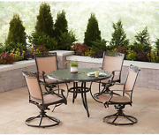Hanover Fontana 5-piece Dining Set With 4 Sling Swivel Rockers And A 48-in. Cast