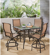 Hanover Mandn5pcsqbr Manor 5-piece High Set With 42 In. Cast-top Dining Table T