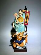 Old Chinese Color Porcelain Dragon Mammon Money Wealth God Ru Yi Ornament Statue