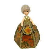 Vintage Doll In Sewing Basket Dress Rare Display Doll 1970's Weighted
