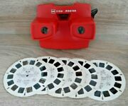 Viewmaster Red Model J 3d Viewer And 5 Hollywood Mickey Reels 1970's Toy Rare K834