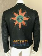 Paul Smith Dreamer Print Leather Biker Jacket Size L Made In Italy Retail
