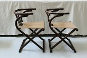Vintage Thonet Style Mid-century Modern Mcm Bentwood Horseshoe Chairs - A Pair