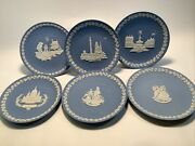 Lot Of 6 Wedgwood White On Pale Blue Plates Christmas