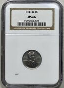 1943-d Lincoln Steel Cent 1c Zinc Penny Ngc Ms 66