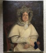 Antique American Folk Art Oil On Canvas Mounted On Board, 18th Cent.,29x36