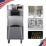 Ups Ship Automatic Stand Commercial 3 Flavors Ice Cream Machine Steel 110v 20l/h