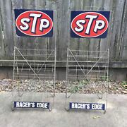 Stp Racers Edge Oil Can Display Stand Rack 2 Sided Sign Vintage 70s Pair Lot