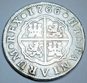 1766 Spanish Silver 2 Reales Genuine Antique Colonial 1700s Two Bits Pirate Coin