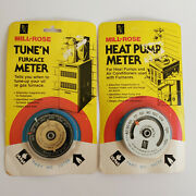Vintage Mill-rose Furnace And Heat Pump Meters Thermometer New Nos Lot Of 2