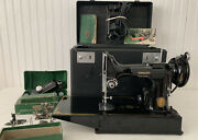 Singer Featherweight 221-1 Series Al Sewing Machine Nice Condition 1952 Extras