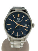 Tag Heuer Carrera Quartz Analog Stainless Steel Navy Menand039s Watch Pre Owned U0805