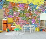 3d United States 21006nao World Map Wallpaper Mural Removable Self-adhesive Fay