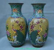 17 Old Chinese Bronze Cloisonne Palace Peacock Peafowl Flower Bottle Vase Pair