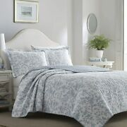 Beautiful Cottage Chic French Country Light Blue Grey White Leaf Soft Quilt Set
