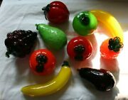 Vintage Murano Style Lot Of 10 Fruits And Vegetables Glass
