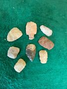 8 Pc Authentic Arrowheads Yell Co Arkansas Indian Artifact Scrapers Lot 13