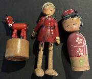 3 Vintage Very Old Wooden Toys - Early 1900- Donkey Wood Puppet...