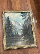 Antique Richard Peter Smith Signed Oil On Board Mountain Landscape Painting
