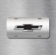 Brushed Black Chevy Chevrolet Bowtie License Plate Front Auto Tag Plate