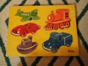 Vintage Sifo Wooden Yellow Tray 1960's Puzzle 5 Pc Transportation