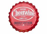 Cheerwine Bottle Cap Sign - Uniquely Southern Red 19.5 X 19.5 X 2.25 Inches