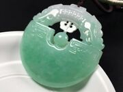 Certand039d Natural A Icy Green Jadeite Jade Two Dragons 双龙户主 Pendant Y801
