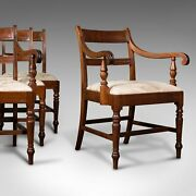 Set Of 4 Antique Dining Chairs English Mahogany Pair Of Carvers Regency
