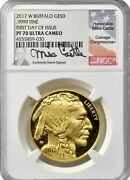 2017-w First Day Of Issue Gold Buffalo Ngc Pf70 Proof