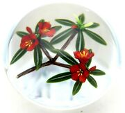 Large Exquisite Chris Buzzini Red Botanical Flowers Art Glass Paperweight