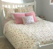 New Cozy Shabby Chic White Pink Red Green Leaf Cottage Romantic Rose Quilt Set
