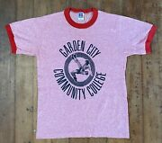 Vintage Garden City Community College Wrestling Small Red Ringer Russell Shirt