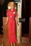 Vintage 1966 Barbie Doll With Bendable Knees Korea In Esso Gas Station Jumpsuit