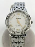 Omega De Ville Analog Stainless Steel White Silver Ladies Watch Pre Owned U0807