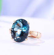 Solid Oval Cut 12.85ct Brazil Topaz Natural Diamond 18k Rose Gold Ring Jewelry
